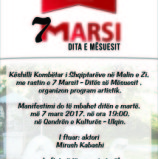 KKSH – ORGANIZON PROGRAM ARTISTIK PER 7 MARSIN – DITEN E MESUESIT